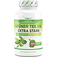 Grüner Tee XXL - 360 Kapseln - Green Tea - 3400 mg pro Tagesportion - 90 Tage Anwendung - Gewichtskontrolle - Grüntee Extrakt 20:1 - Vit4ever