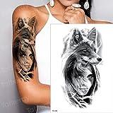 Handaxian 3 Piezas Etiqueta engomada del Tatuaje a Prueba de Agua Lobo Tigre Zorro patrón Tatuaje Transferencia de Agua Cuerpo Arte Tatuaje