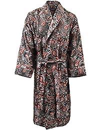 Lloyd Attree & Smith - Robe de Chambre en Viscose - Paisley Noir / Rouge - Homme