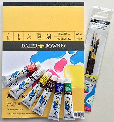 8tlg. Daler Rowney System 3 Geschenk-Set mit Acrylfarben und Zubehör - ideal um mit der Acrylmalerei zu starten