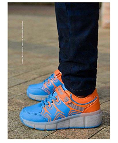 Kinder Kinder Schuhe Glowing Schuhe Sneakers FZUU Jungen mit Licht Blau Roller leuchten M盲dchen Sneakers R盲der Kinder f眉r Led mit Schuhe LED wSdq87dX