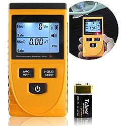 A-szcxtop Digtial radiación medidor con pantalla luz LCD Detector de radiación electromagnética dosímetro probador contador la detección de la Campo eléctrico, Campo magnético