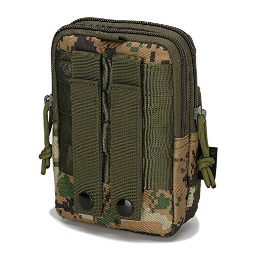 Mcdobexy Wasserdichte Militär Taktische Molle EDC Telefon Tasche Taille Pack Utility Gadget Gürtel Taille Tasche mit extra Metall Karabiner JungleDigital