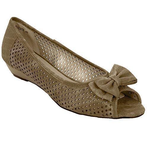 FANTASIA BOUTIQUE Dames Papillon Sandales Talon Bas Femmes Bout Ouvert Décontracte Été Chaussures Semelle Compensée Taupe