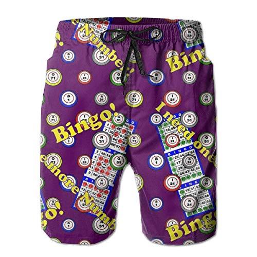 Fashion Mens Staroklaho Bingo 3D Swim Trunks Quick Dry Summer Underwear Surf Beach Shorts Elastic Waist with Pocket Drawstring L