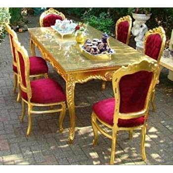 Casa-Padrino Baroque Dining Room Set Bordeaux/Gold - Dining Table + ...
