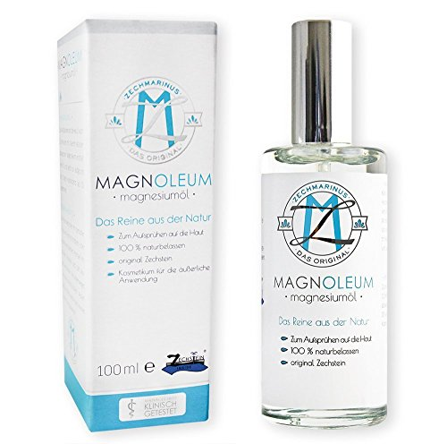 Aceite de magnesio de Zechstein MAGNOLEUM – Frasco pulverizador de vidrio de 100 ml – Dermatológicamente y clínicamente probado – Agua salina de magnesio – Cloruro de magnesio – Aceite de magnesio natural – Aceite de magnesio – magnesium oil