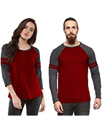 Veirdo Cotton T-Shirt Maroon Milange Casual Combo T-Shirts For Men & Women(VALENTINE SPECIAL)
