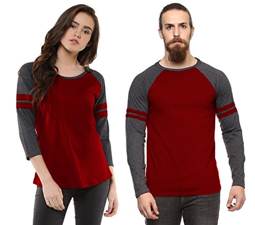 Veirdo Cotton T-Shirt Maroon Milange Casual Combo T-Shirts For Men & Women(VALENTINE...