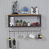 MOMO Massivholzregal, Wandmontierte Retro Eisenregale, Doppelschichten Eisenregal für Wohnzimmer, Schlafzimmer, Küche, mit festen Haken,60 * 20 * 48 cm,Schwarz