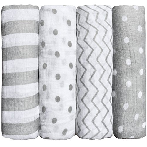 "Muslin Squares (4 Pack) Muslin Swaddle Blankets by CuddleBug - ""Spots n"