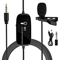 XINXIUTU Lavalier Microphone with 3.5mm Audio Connection for iPhone iPad External Clip-on Lapel Omnidirectional Audio Video Recording Condenser Microphone.