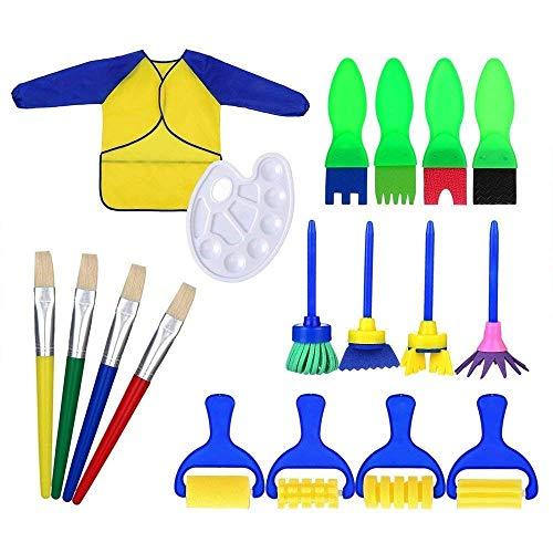 BANGBANG 18 Stück Schwamm Malerpinsel Werkzeug Set für Kinder Kleinkinder Kunst Basteln DIY Pinsel für frühes Lernen a (Tun Kleinkindern Zu Mit Basteln)