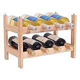 COSTWAY Weinregal aus Holz, Flaschenregal mit 2 Ebenen, Flaschenständer für 8 Flaschen, Weinflaschenhalter stapelbar, Weinständer erweiterbar