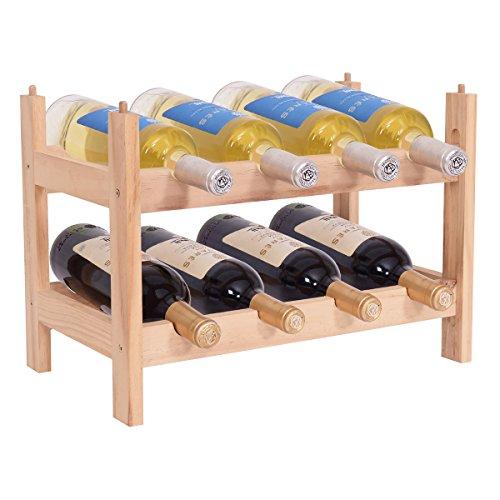 COSTWAY Weinregal aus Holz, Flaschenregal mit 2 Ebenen, Flaschenständer für 8 Flaschen, Weinflaschenhalter stapelbar, Weinständer erweiterbar, Weinhalter 43 x 25 x 31 cm