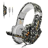 ECOOPRO Gaming Kopfhörer für PS4 Xbox PC Gaming-Headset mit Mikrofon Noise Canceling, LED Licht & Stereo Bass Headset für Mac Laptop Tablet Smartphone(Camo)