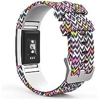 MoKo Armband für Fitbit Charge 2, [Muster Serie] Silikon Sportarmband Uhrenarmband Uhr Erstatzband für Charge 2 Smartwatch Zur Herzfrequenz und Fitnessaufzeichnung, Armbandlänge 145mm-210mm, Bunt V