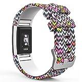 Fitbit Charge 2 Bracelet, MoKo Watch Band de Remplacement ajustable en Silicone Souple pour Fitbit Charge 2 Bracelet d'activité et de suivi de la fréquence cardiaque 5.70'-8.26' (145mm-210mm), M coloré