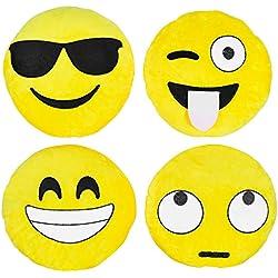 Kompanion Set de 4 Almohadas Amarillas Grandes de Emoji, 30CM/12'' – Accesorio de Decoración de Sofá, Habitación, Cama o Casa – Cojín de Emoticono de Peluche de Felpa Suave