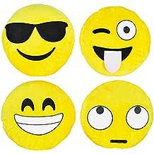 Set de 4 Almohadas Amarillas Grandes de Emoji, 30CM/12'' – Accesorio de Decoración de Sofá, Habitación, Cama o Casa – Cojín de Emoticono de Peluche de Felpa Suave