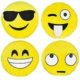 Kompanion Emoji Kissen 4 Stück Set, 30CM/12 Zoll Gelb rund dick, weiches Plüsch Emoticon Kissen