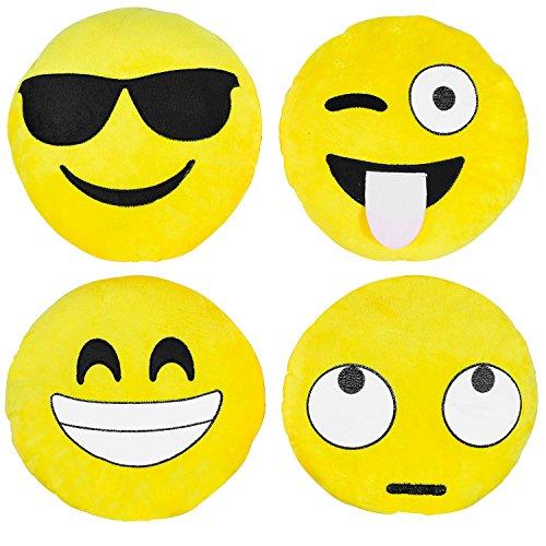 Kompanion Emoji Kissen 4 Stück Set, 30CM/12 Zoll Gelb rund dick, weiches Plüsch Emoticon Kissen 12-zoll-kissen