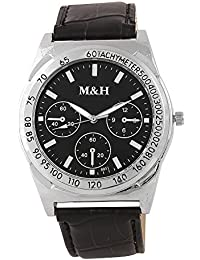 M&H® Branded Black Dial Black Leather Belt Analogue Quartz Movement Watches For Men - W1081BBXZXZ