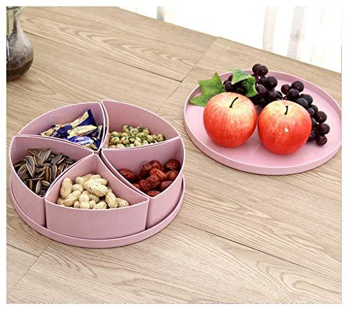 MWG Boîte de Fruits secs de Grande capacité de ménage de boîte de Sucrerie de Plat de Fruit avec la boîte de Stockage de Compartiment de Couvercle (Couleur : Pink)