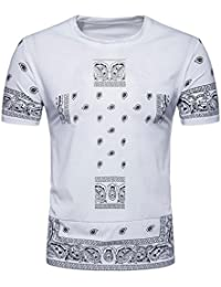 Fathoit Shirt Homme Chic, Fashion Hiphop Men Impression Casual Slim Manches Courtes Imprimé T Shirt Top Blouse avec Poche