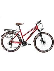 'Rueda de 26pulgadas aluminio de mujer Trekking City bicicleta eléctrica bicicleta Bike 21velocidades Shimano Disc Rojo