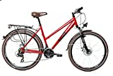 26' Zoll Alu Trekking City MIFA Fahrrad Damen Rad Bike Shimano 21 Gang Disc rot