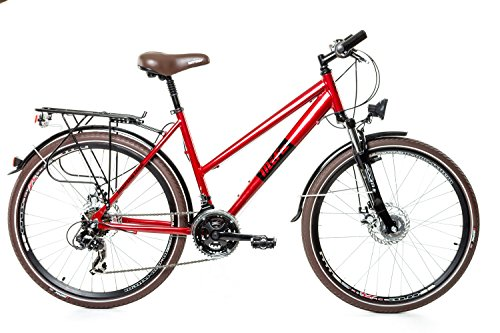 """26"""" Zoll Alu Trekking City MIFA Fahrrad Damen Rad Bike Shimano 21 Gang Disc rot"""