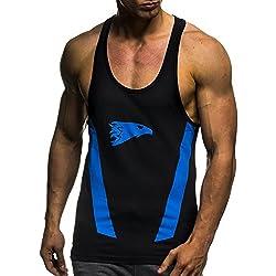 Leifheit Nelson Gym Fitness LN06286 - Camiseta de tirantes de entrenamiento para hombre, color negro / azul, tamaño M