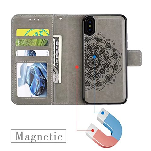 iPhone X Hülle, iPhone 10 Brieftasche, Lifetrut Premium Mandala Emboss PU Leder 2 in 1 Wallet Flip Folio Case Magnetische abnehmbare Rückenabdeckung & Handschlaufe für iPhone X / iPhone 10 [schwarz] E204-Grau