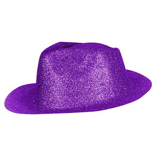 Cooler Cowboy Hut Sheriff Fasching Masken Perücke Disco Zylinder Maske Texas Glitzer Einfach - Lila (Disco Tänzer Kostüm Kinder)