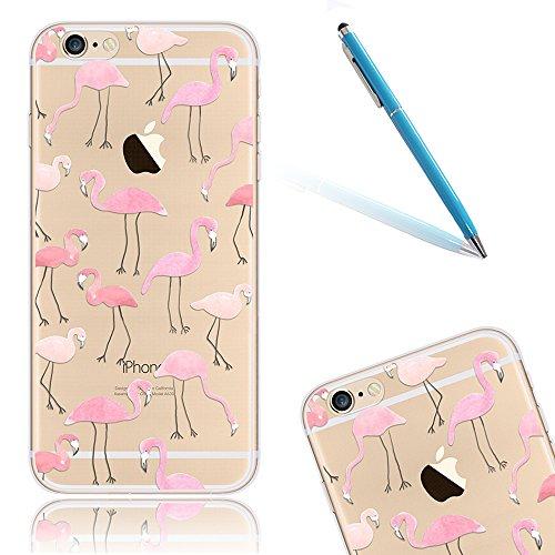 iPhone 6 Handyhülle, CLTPY iPhone 6s Durchsichtig Slim Fit TPU Schutzfall mit Luxus Schöne Muster für Apple iPhone 6/6s + 1 x Freier Stylus - Rosa Dinosaurier Flamingos