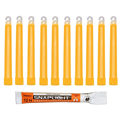 Cyalume SnapLight Orange KnickLichter Glow Sticks – 15cm 6 Inch Industrial Grade Leuchtstab, Ultra helle Light Sticks mit Leuchtdauer 12 Stunden (10-er Pack)