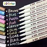 PuTwo Metallic Stifte Satz von 10 Wasserbasis Metallic Marker Permanent Metallic Marker Pens für Fotoalbum Scrapbook Metallic Marker Stifte auf Irgendeiner Oberfläche wie Papier Glas Keramik