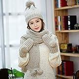 SJJL Chapeau tricoté, Dames d'hiver Chapeau de Laine écharpe Gants Costume Trois pièces Couche de Mensonge épais Couche Casquette de Boule de Cheveux (Couleur : C)