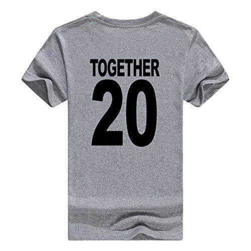 NiSeng Paare Shirt Casual Pärchen Drucken Kurze Ärmel T-Shirt Sommer Herren & Damen T-Shirt Grau Schwarz2