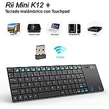 Rii K12+ mini - Teclado con touchpad (WiFi 2.4 GHz, USB,Aluminio Ligero de alta calidad), color negro - QWERTY Español.
