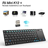Rii K12+ Mini Teclado compacto con touchpad multitoque integrado (WiFi 2.4 GHz, USB incorporado, cubierta de Acero Inoxidable ultra-resistente) Color Negro - QWERTY Español
