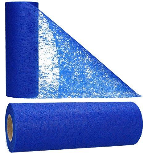 AmaCasa Vlies Tischläufer Blau 23cm/20 Meter Flower Vlies Tischband Hochzeit Kommunion -