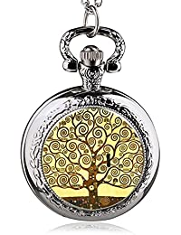 ShopyStore 36 Fashion Silver Stainless Steel Tree Of Life Chain Luminous Pocket Watch Necklace WOM