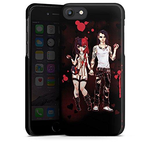 Apple iPhone X Silikon Hülle Case Schutzhülle Valentine Dark Comic Boy and Girl Hard Case schwarz