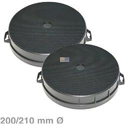 2filtros de carbón activo diámetro 200x 210mm redondo para campanas extractoras Bosch Siemens Neff no.: 353121