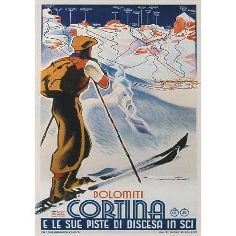 CORTINA, DOLOMITI - 1930 - Italia - Poster di Viaggi Vintage A3 Finitura Lucida (420 mm x 297 mm)