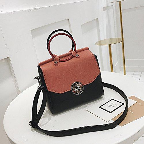 WTUS Damen Art und Weise Getroffen Farbe Kleine Quadratisches Paket Lässig Schulter Messenger Tasche Wilde Schloss Handtasche Schwarz