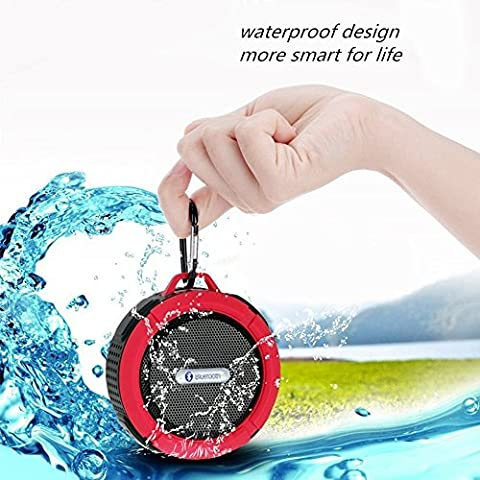 ULTRICS® Bluetooth Speakers, Portable Wireless Outdoor / Shower Speaker with IPX4 Waterproof Function CE ROHS FCC Certified Bluetooth 4.0 Technology Built in Microphone Handsfree Speakerphone with Suction cup- 100% Satisfaction Guarantee (Red)