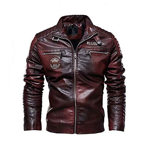 XFei Herren Casual Motorrad Kunstleder Jacke, Cafe Racer Jacke Slim Fit Vintage Stehkragen Motorrad Biker Leder schwarz Jacke Mantel für Männer